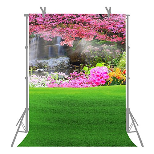 FUERMOR Background 5X7ft Pink Flowers and Green Grass Photography Backdrop Photo Studio Props For Photographers A242