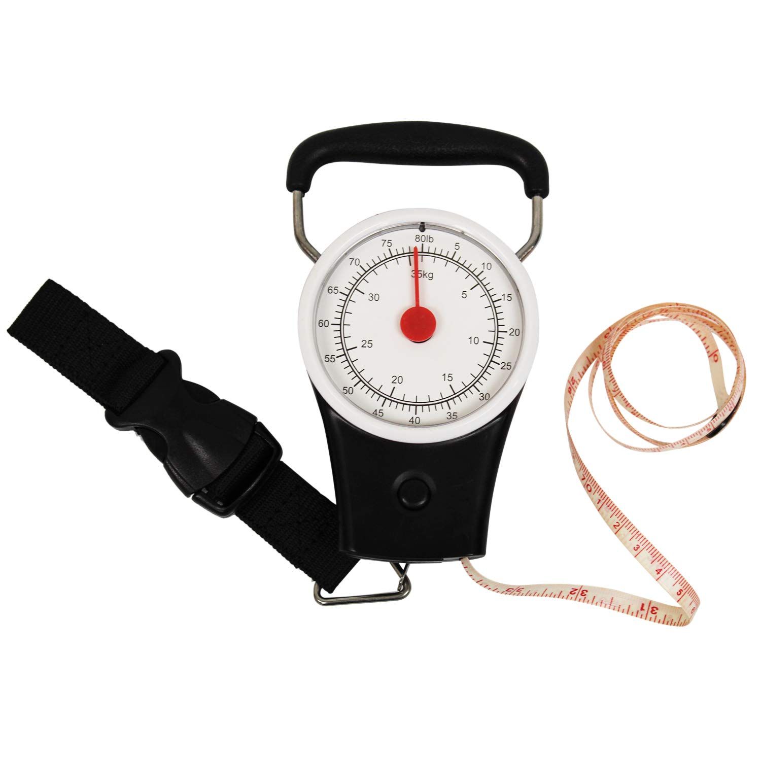 Heavy Duty Luggage Scale Accurate Easy Reading No Batteries with a Built-in Tape Measure