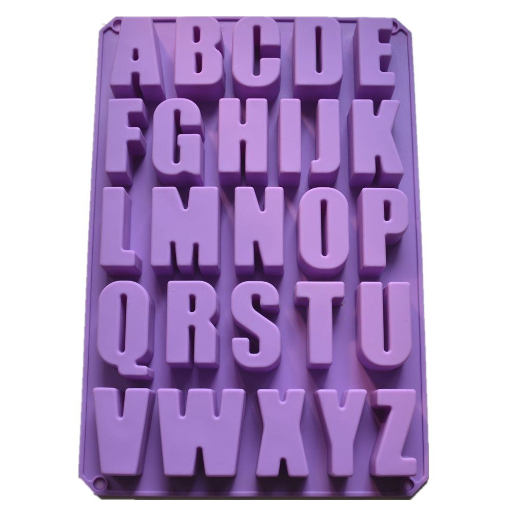 Allforhome 26 Cavities Alphabet Silicone Cake Baking Mold Cake Pan Muffin Cups Handmade Soap Moulds Biscuit Chocolate Ice Cube Tray DIY Mold TRTA11A