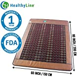 HealthyLine Far Infrared Heating Mat|Natural Jade & Tourmaline Healing Mat 80'' x 60'' |​​​​​ ​ Negative Ions (Queen & Firm) | Detox, Relieve Pain, Stress & Insomnia | FDA Registered