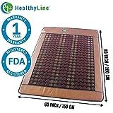 HealthyLine Far Infrared Heating Mat|Natural Jade & Tourmaline Healing Mat 80'' x 60'' |  Negative Ions (Queen & Firm) | Detox, Relieve Pain, Stress & Insomnia | FDA Registered