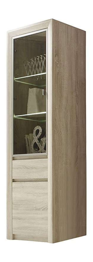 Trendteam Wohnzimmer Vitrine Schrank Wohnzimmerschrank Sevilla, 64 X 200 X  38 Cm In Eiche Sägerau