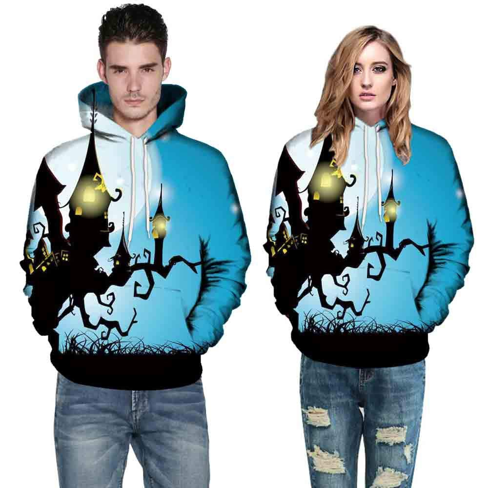 Women Men Tops Long Sleeve O-Neck 3D Print Halloween Couples Drawstring Hoodies Sweatshirt Pullover (M, Blue 1495)