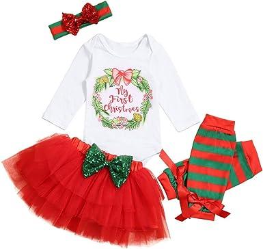 Toddler Kid Baby Girls Christmas Letter Romper Tutu Dress Skirt+Hairband Outfits