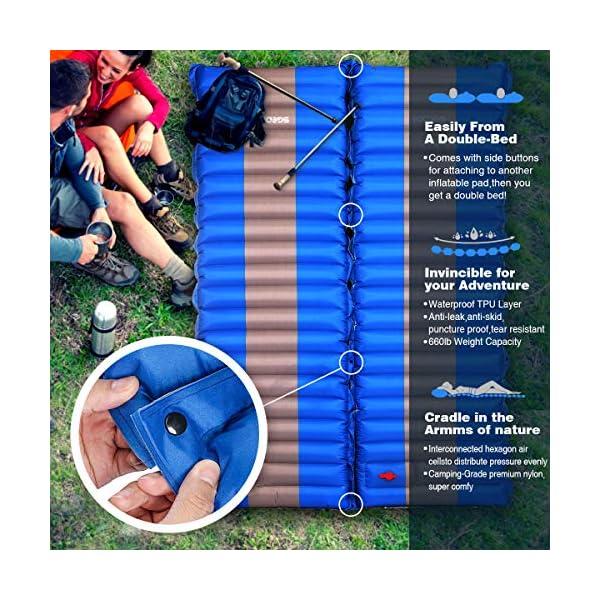 61i4jNjSWcL SGODDE Isomatte Camping Selbstaufblasbare,Handpresse Aufblasbare,leichte Rucksackmatte für Wanderungen zum Wandern auf…