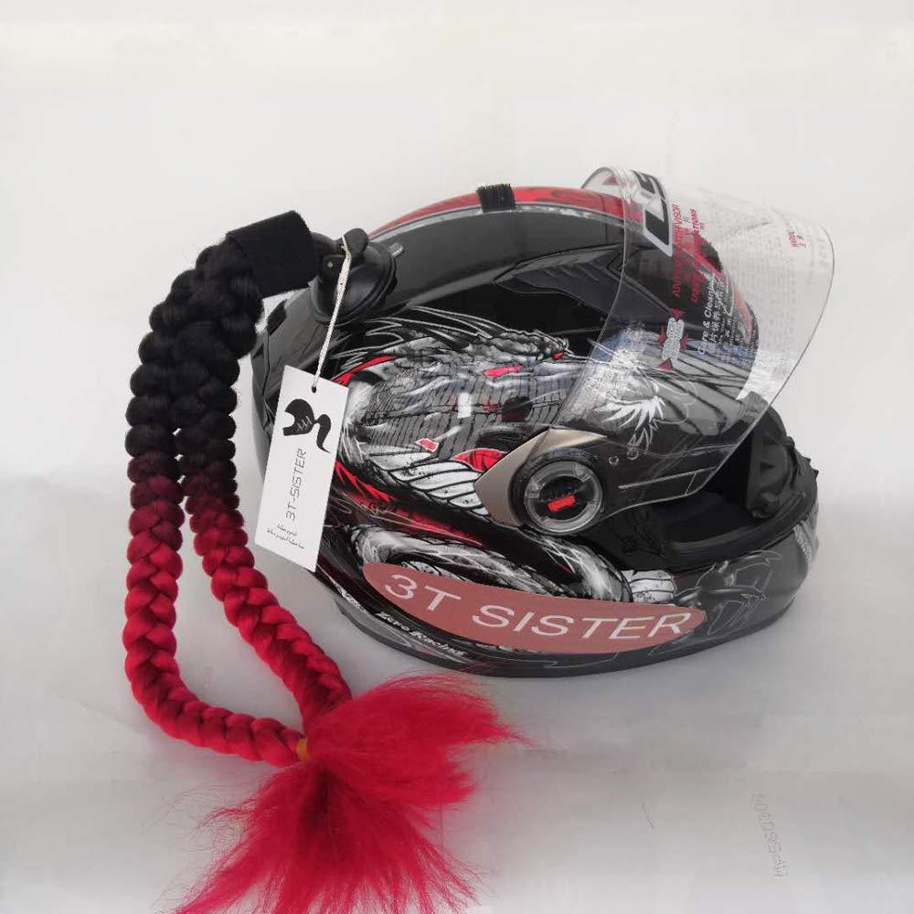 B09 3T-SISTER Helm geflochtener Pferdeschwanz Motorrad Fahrrad Helm Haar Z/öpfe Haarteile f/ür Erwachsene