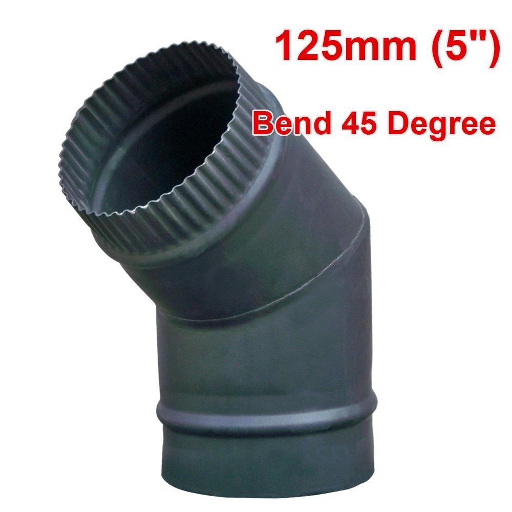 Lincsfire 5 45 Degree Bend Flue Pipe Chimney For Wood Burning Log burner Multifuel Stove | Black Steel Manufactured for Lincsfire