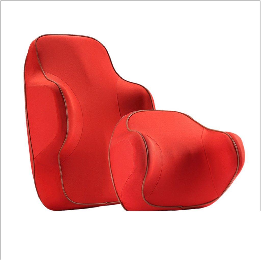 LSQR General Motors Head Kissen und Taille Kissen Anzug, Enthalten Kopfstütze und Taille Unterstützung, Auto Memory Foam Kissen, Reisen/Büro/Home/Automobil,ROT