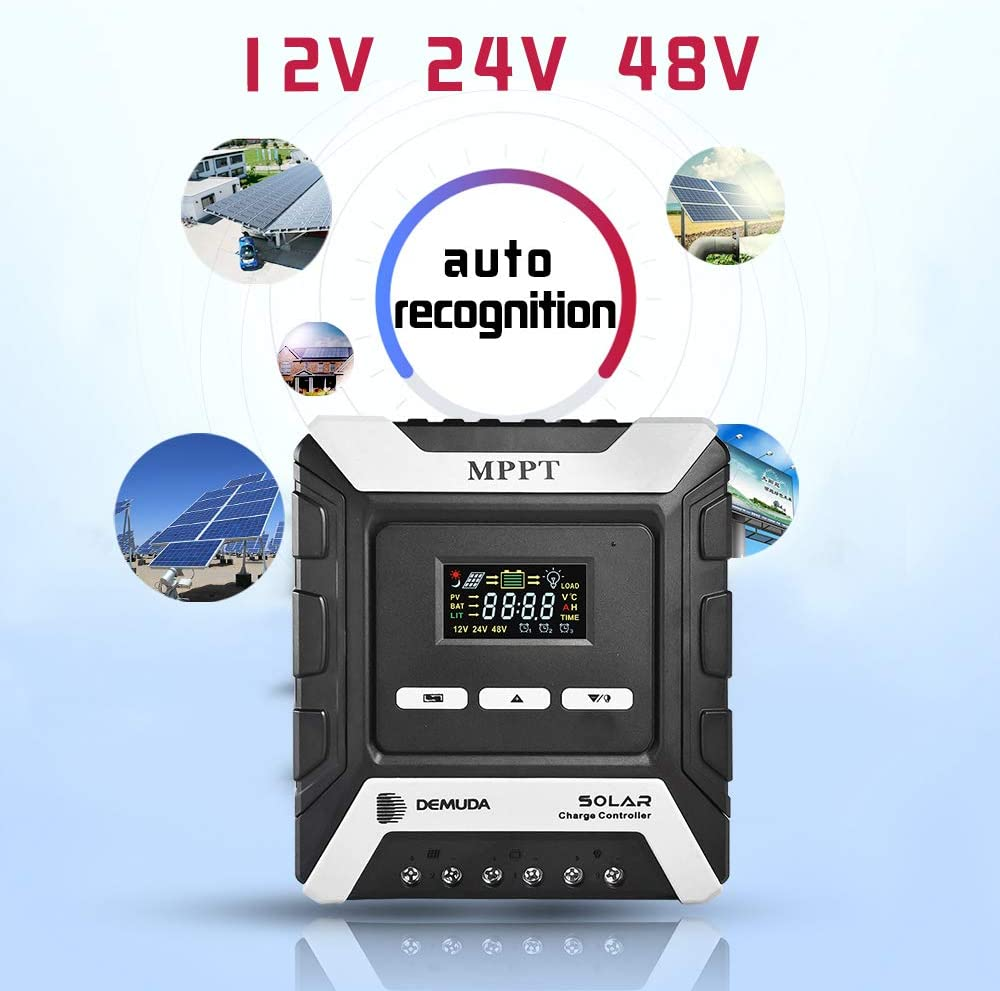 Yinleader MPPT 40amp AUTO Solar Charge Controller 12V 24V 48V 40A Solar Charge Regulator with Programmable LCD Display for Gel Sealed Flooded and Lithium Battery