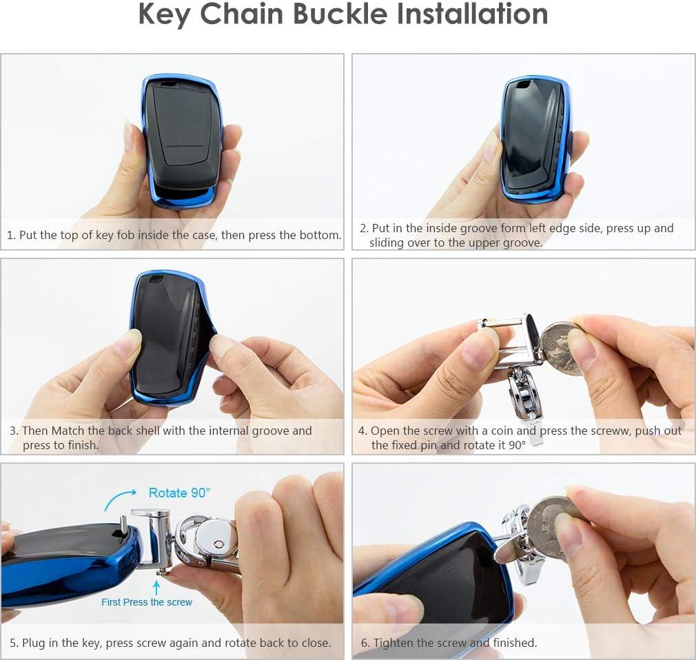Red VANZAVANZU BMW Key Fob Cover Soft TPU Smart Key Fob Case Holder Sleeve Car Key Chain for BMW 1 3 4 5 6 7 Series BMW X3 X4 M2 M3 M4 M5 M6