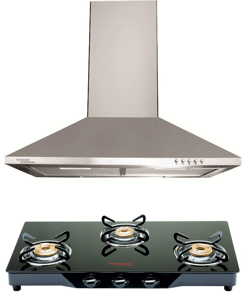 Hindware Combo Of Clara Neo 60Cm Chimney And Armo 3 Br Glasstop Gas ...