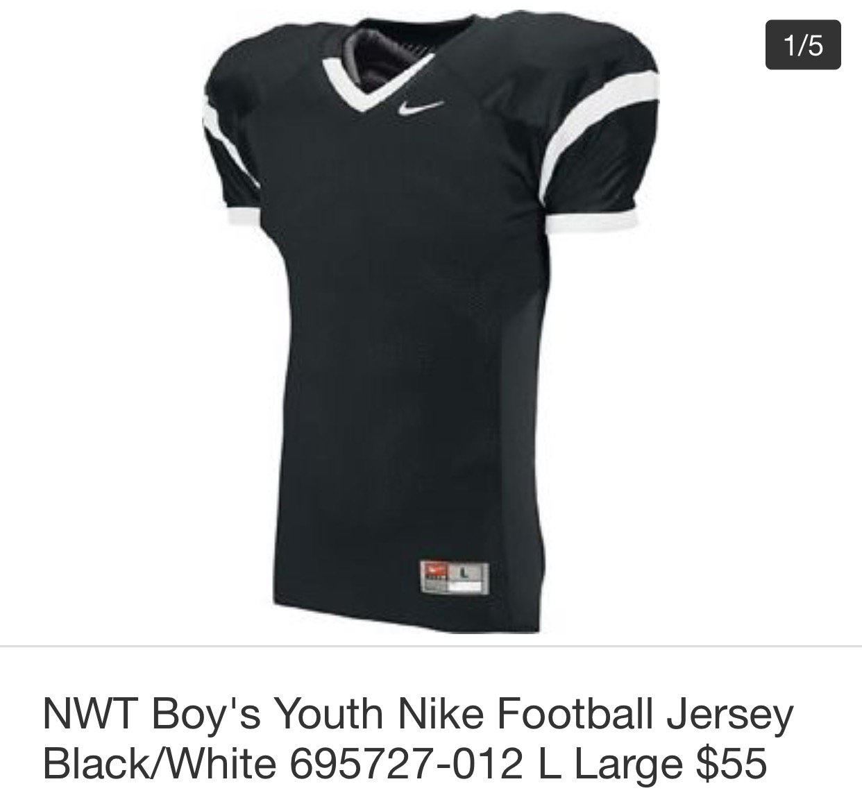 separation shoes 925d8 7c8ed Amazon.com: Nike NWT Boy's Youth Football Jersey Black/White ...