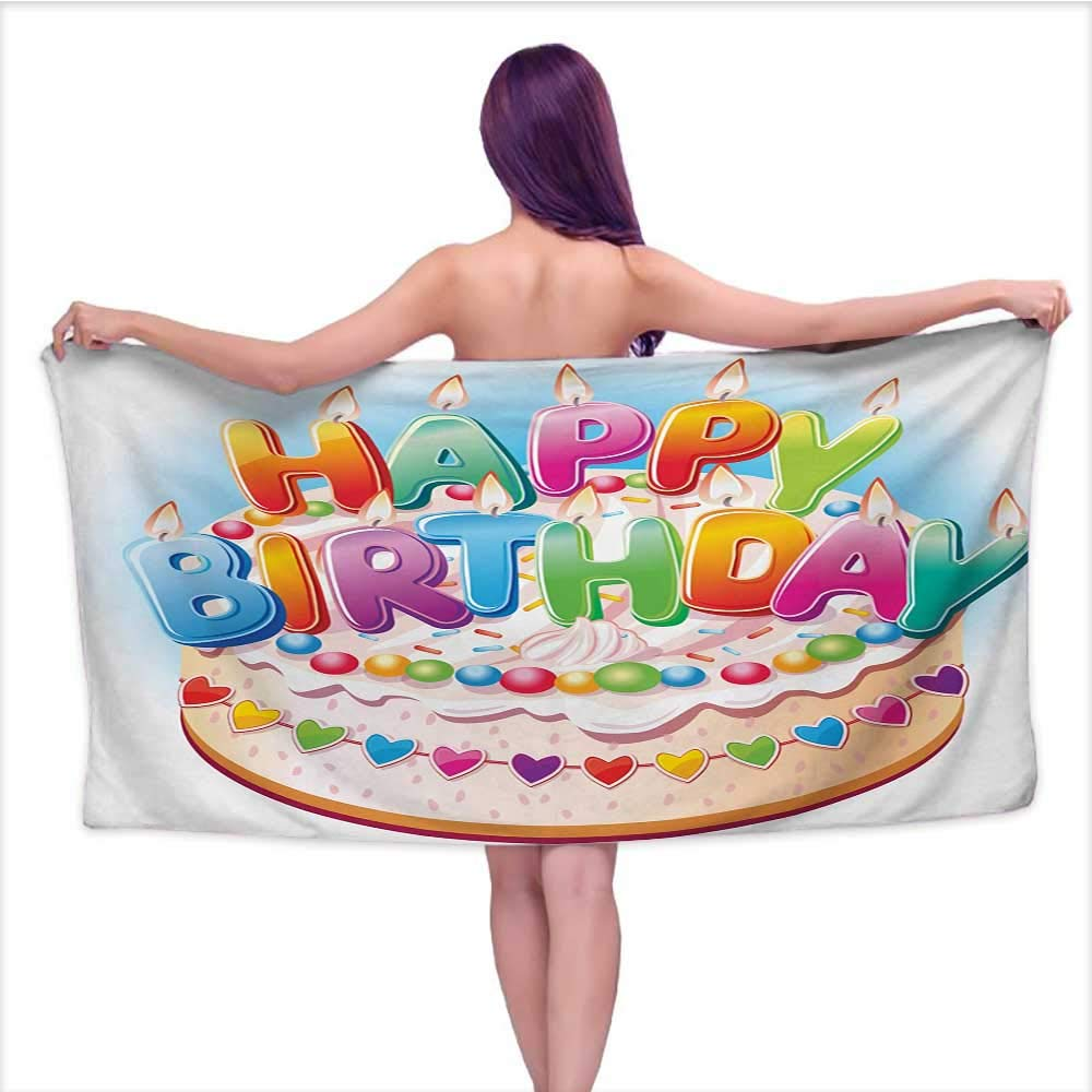 Onefzc Travel Bath Towel Kids Birthday Cartoon Style Happy Birthday Party Image Cake Candles Hearts Design Print Super Soft Highly Absorbent W35 x L12 Multicolor