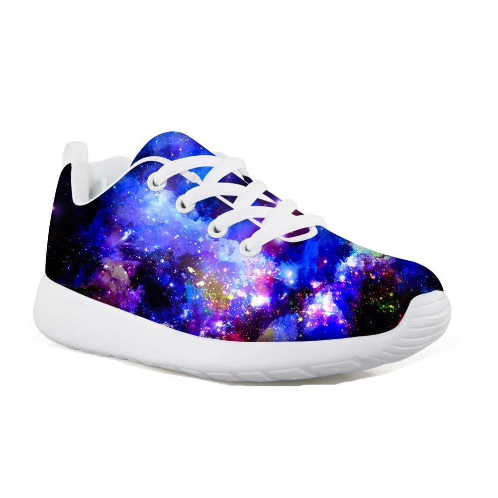 HUGS IDEA Night Sky Pattern Lightweight Kids Fashion Sneakers Blue Casual Sport Running Shoes