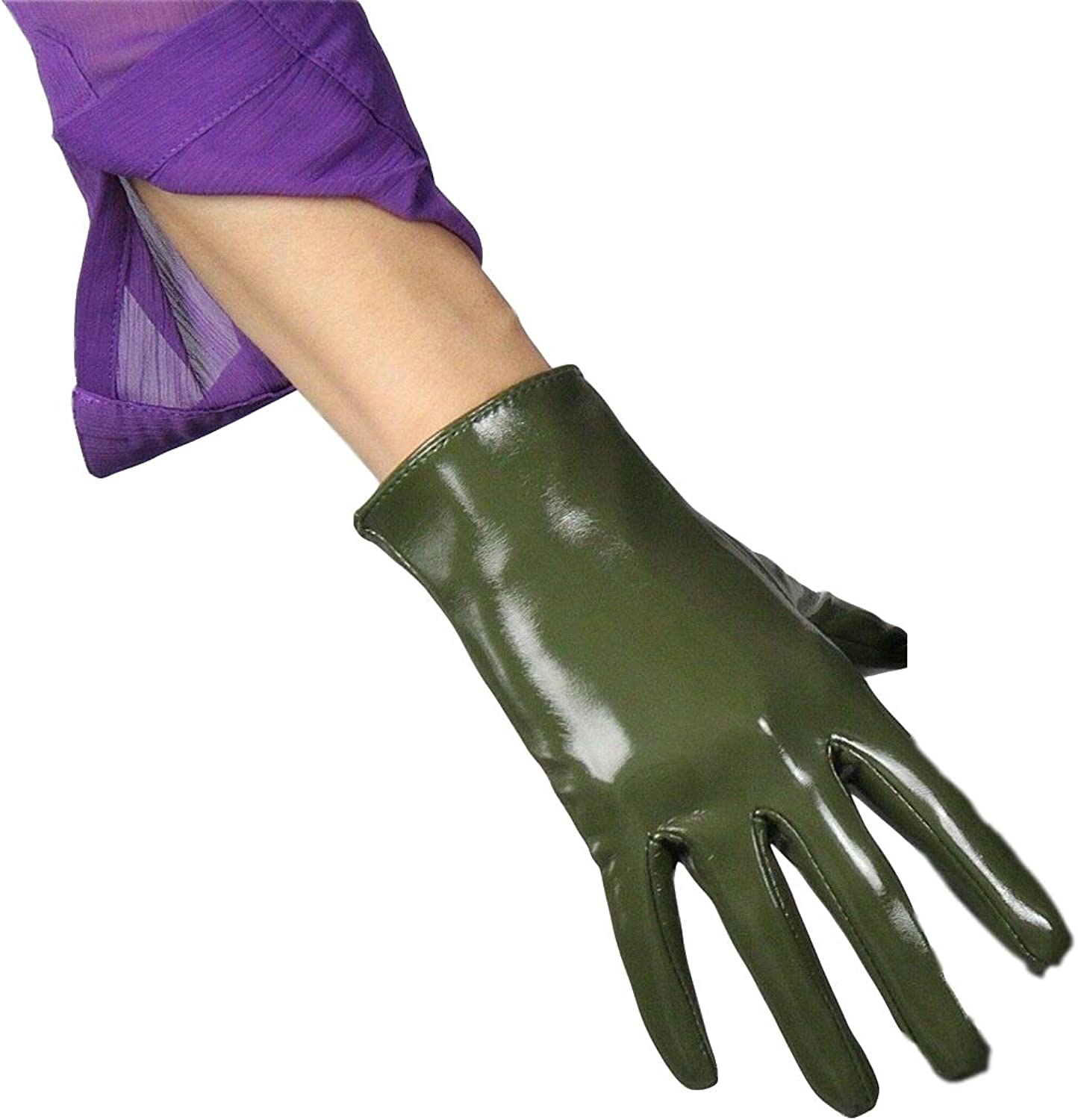 DooWay Faux Patent Leather Short Gloves Shiny 21 cm Army Green Cosplay Costume Warm Driving Gloves