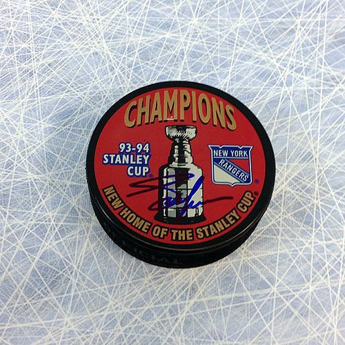 Adam Graves New York Rangers Autographed 1994 Stanley Cup Puck - Signed Hockey Pucks