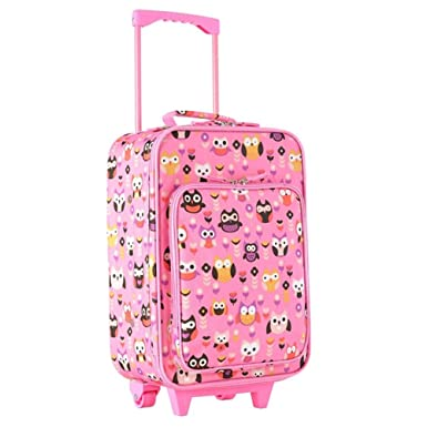 Amazon.com | Girls Cute Pink Floral Owl Carry On Suitcase, Bird ...