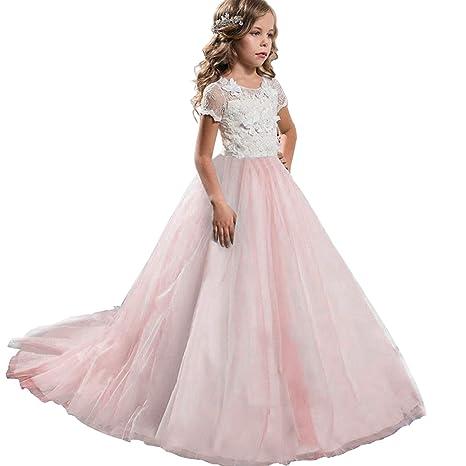 770217281339 NNJXD Ragazze Pizzo Ricamo Fiore Matrimonio Festa di Compleanno Principessa  Abito Coda Lunga  Amazon.it  Abbigliamento