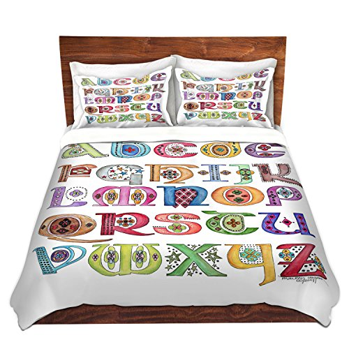 DiaNoche Designs Royal Whimsies Alphabet Bedroom and Bedding Ideas Cover Brushed Twill Queen, King Sets, 2 Twin Duvet Only 68