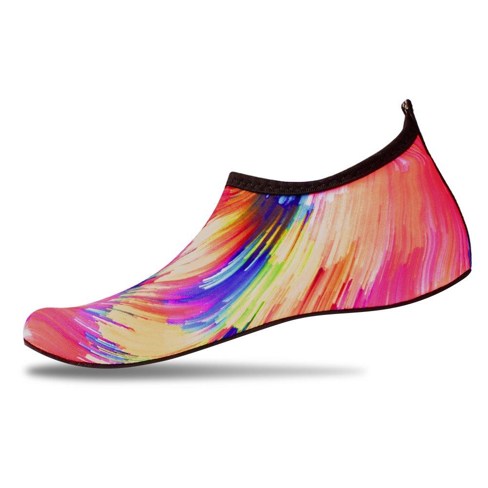 JNDDFAC Men Women Water Shoes Quick Dry Aqua Socks Barefoot Skin Beach Shoes for Swim Yoga Surf-Colorful (S(Women:7-8/Men:6-6.5), Colorful)