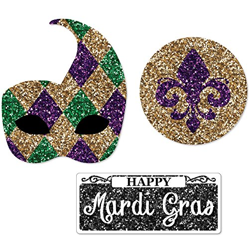 Mardi Gras - DIY Shaped Masquerade Party Cut-Outs - 24 Count