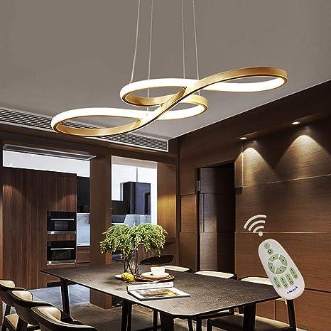 Modern LED Acrylic Chandelier Dining Room Dimmable 3000K~6500K Remote  Control Pendant Lights Color/Brightness Adjustable Half Flush Mount Ceiling  ...