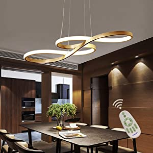 Modern LED Acrylic Chandelier Dining Room Dimmable 3000K~6500K Remote Control Pendant Lights Color/Brightness Adjustable Half Flush Mount Ceiling Hanging Lamp Fixture for Bedroom Livingroom Lighting