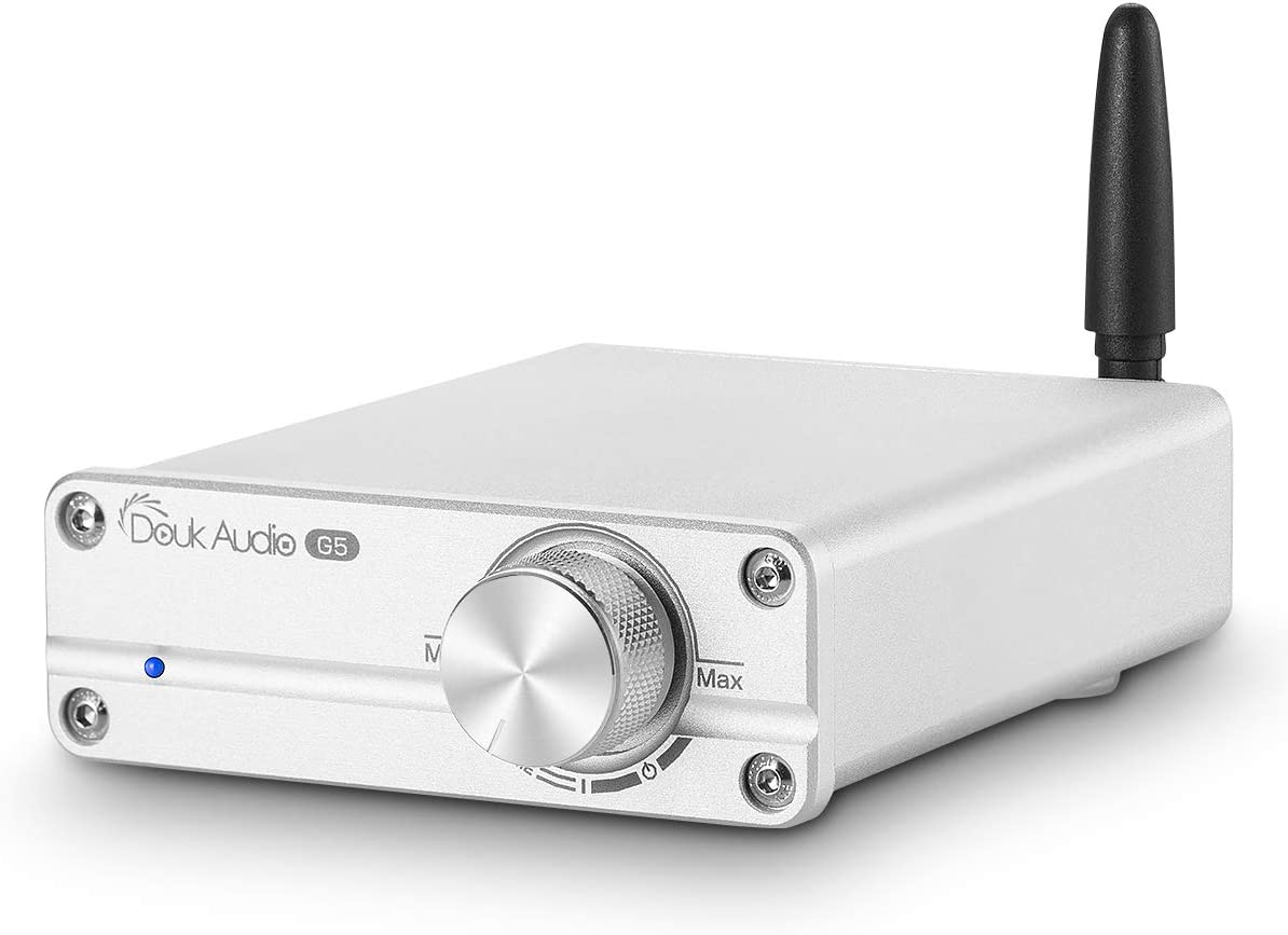 Douk Audio G5 100W Bluetooth 5.0 2 Channel Amplifier Mini Digital Class D Stereo Audio Power Amp Wireless Receiver (Silver)