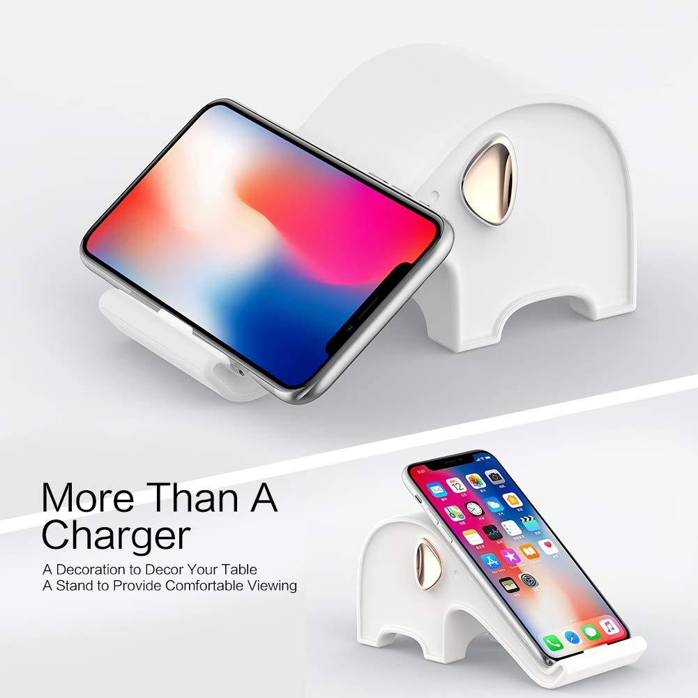 10W Q1 Wireless Qi Charger Stand Base Kit, Love White Elephant Gifts for Men Women Decor, Fast Set Apple iOS iPhone X Xs Max XR 8 Samsung s7 s8 Galaxy ...
