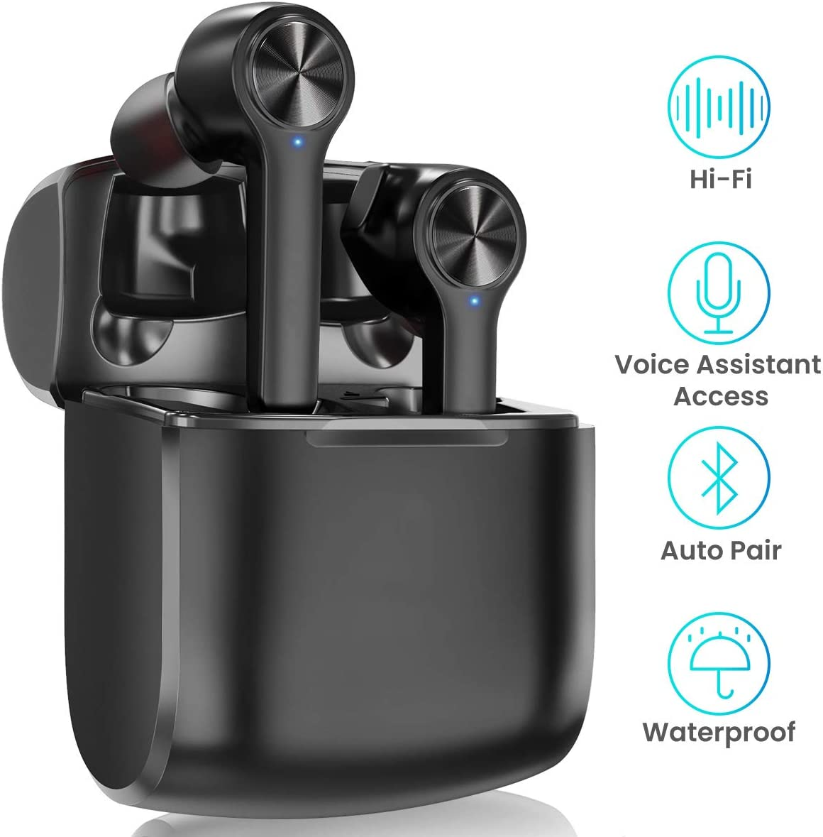 True Wireless Headphones, HopoFit HFT-11 Bluetooth 5.0 Earbuds with Mic,5 Hours Playtime,IPX5 Waterproof Smart Touch Control in-Ear Stereo,Wireless Charger Portable Charging Case Black