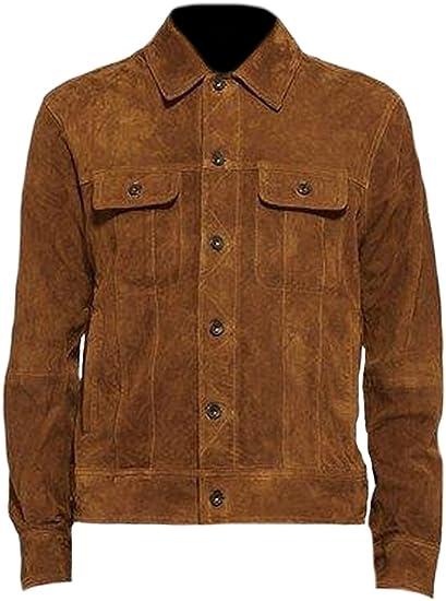 Classyak - Chaqueta de Piel para Hombre (Ante y Piel), Color marrón
