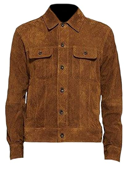 Classyak Mens Fashion Suede Leather Jacket Suede Brown X-Small