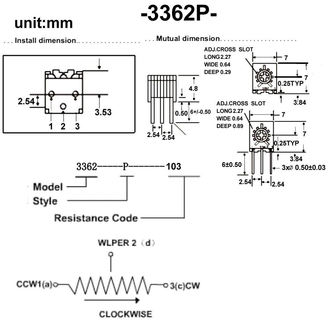 uxcell Resistors 10k Ohm Top Adjustment Horizontal Cermet Potentiometer 2 Pcs