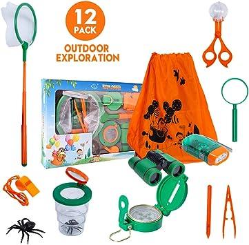 LEHOO® Juego de aventuras al aire libre para niños, kit de explorador al aire libre, juguetes educativos, senderismo, prismáticos, linterna, brújula, lupa, red de mariposas, pinzas, recipiente de visualización de insectos, silbato: