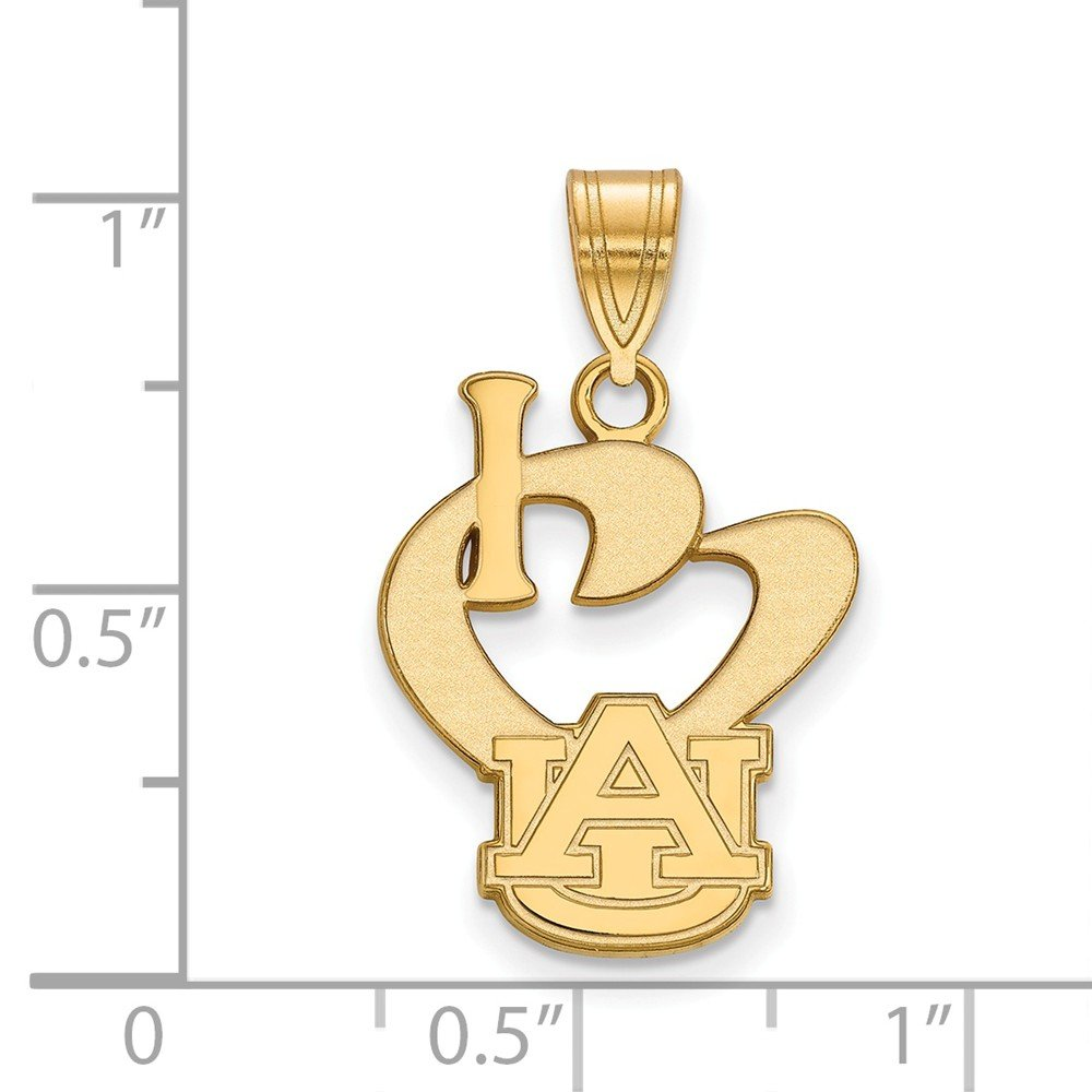 15mm x 25mm Jewel Tie 925 Sterling Silver with Gold-Toned Auburn University Large I Love Logo Pendant
