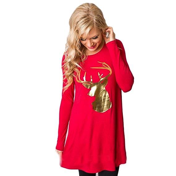 Vestidos Invierno Mujer, Yusealia Vestidos Mujer Otoño, Vestidos Mujer Navidad, Vintage Navidad Cuello Redondo Alces de Navidad Vestidos Manga Larga Damas ...