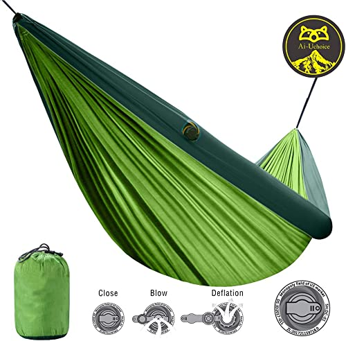 Ai-Uchoice Camping Hammock TPU Inflatable Tube Hammock Lightweight 210T Nylon Parachute Hanging Hammock with Ropes for Indoor Outdoor