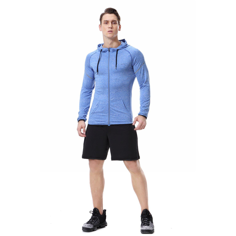 AIRAVATA Men's Athletic Sports Slim Fit Long Sleeve Zip Up Cool Dry Hoodie Shirt, Blue, Medium