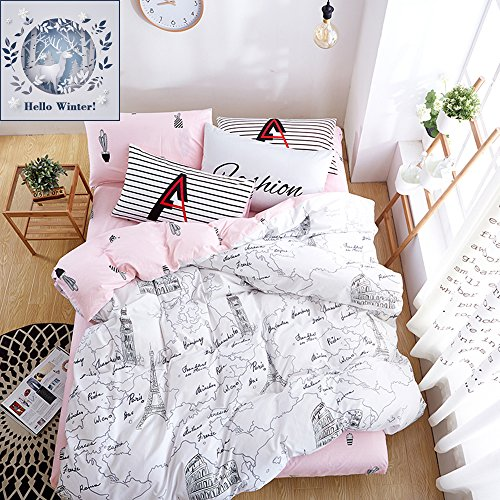 BuLuTu Paris 3 Pieces Kids Duvet Cover Sets Queen Cotton White Pink For Girls Reversible Cactus Print Girls Bedding Sets Full Cotton Zipper Closure,Love Gifts for - Tower Map Water