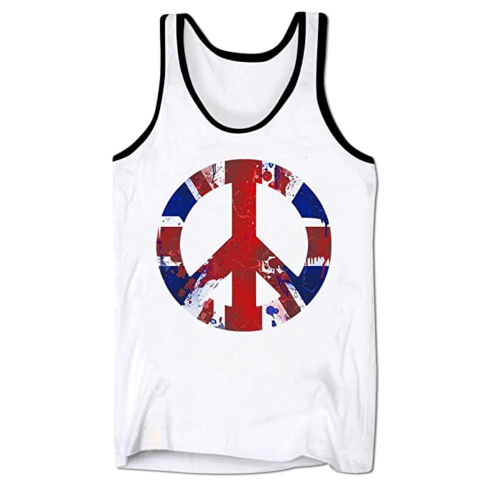 Mens Union Jack Flag Peace Sign Holiday Festival Low Cut Vest