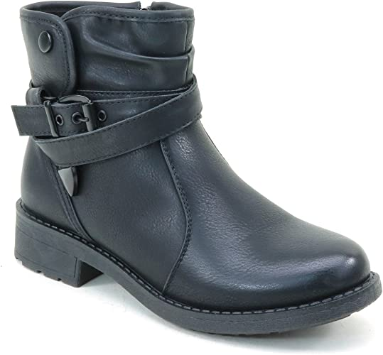 Distressed Buckle Flat Ankle Casual Women/'s Vegan Boots Black