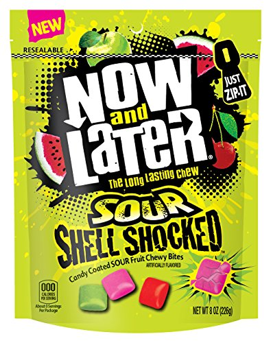 Now & Later Sour Shell Shocked Fruit Chewy Bites Candy, 8 Ounce Bag, Pack of 6 ()