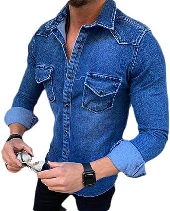 H&E - Camisa de Jean de Manga Larga para Hombre: Amazon.es: Ropa y accesorios