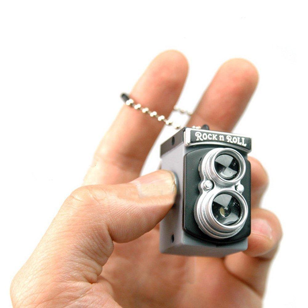 SODIAL(R) Cute Mini Double Twin Lens Reflex TLR Camera Style LED Flash Light Torch Shutter Sound Keychain TRTA11A