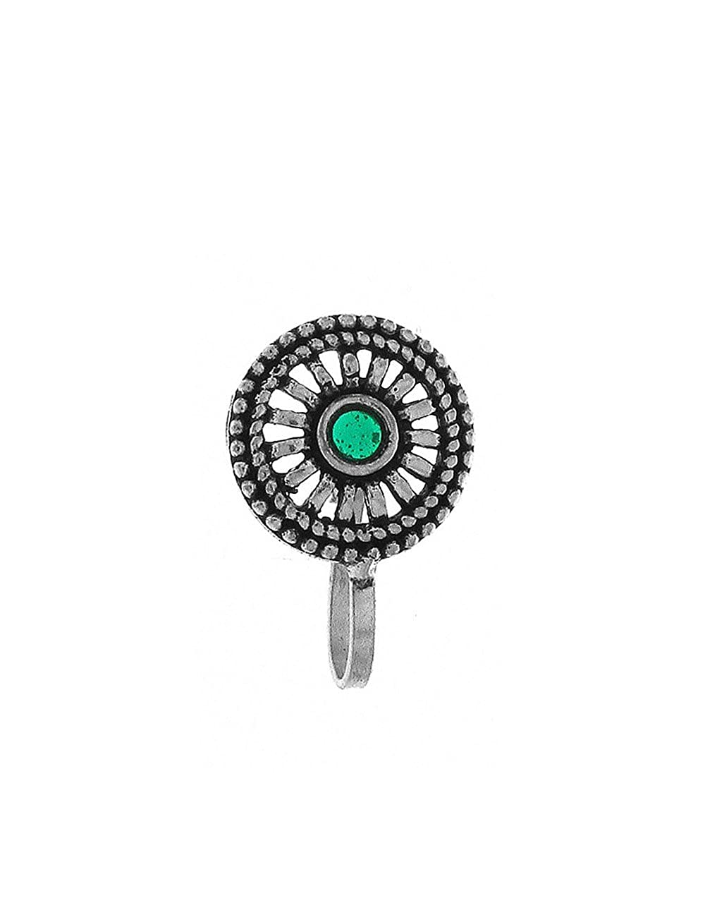 50b7be0a861 Amazon.com  Anuradha Art Silver Finish Styled With Round Shape Wonderful  Designer Clip-On Nose Ring Pin For Women Girls  Jewelry