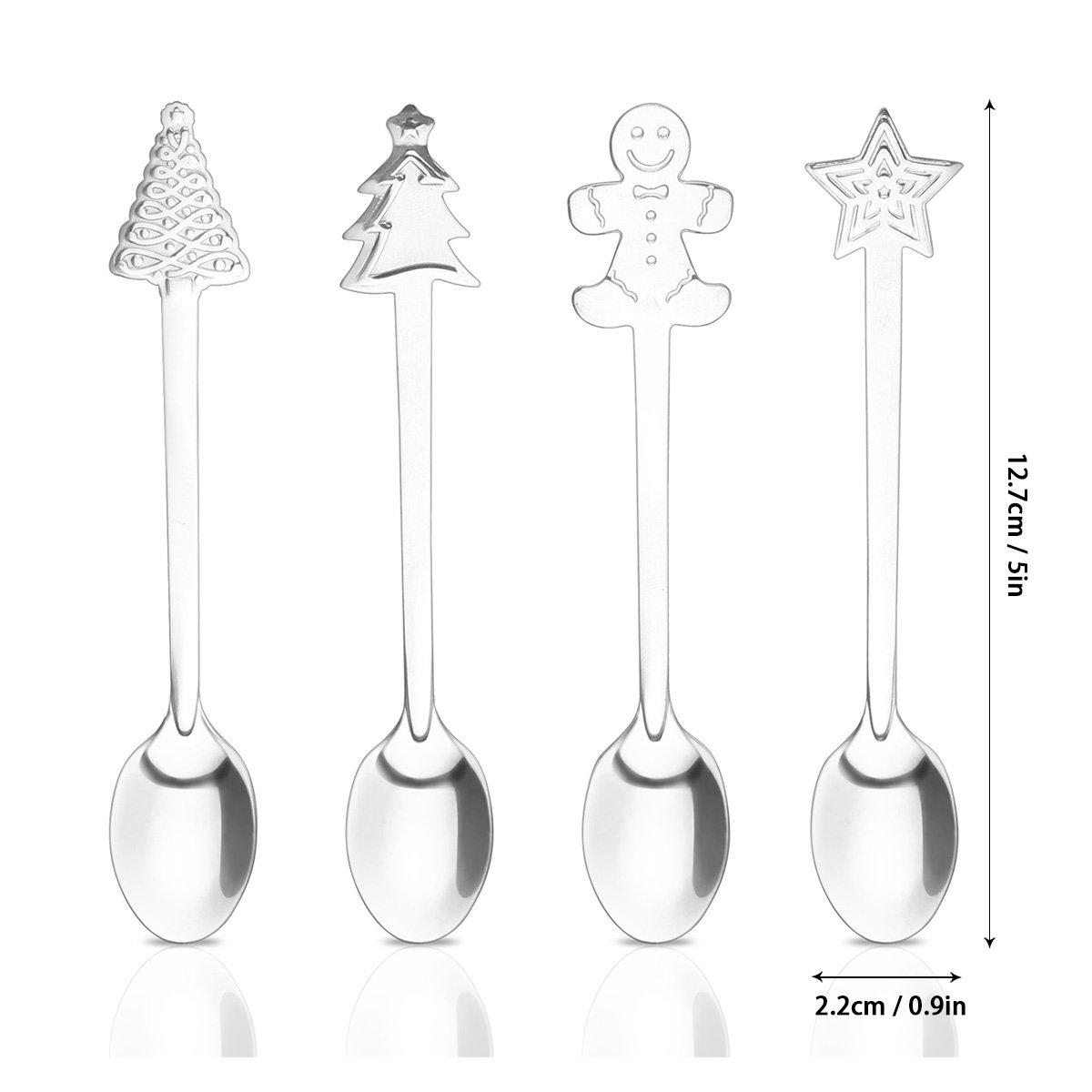 DEBEME Cuchara 4 piezas Juego de cucharas navide/ñas de acero inoxidable Caf/é T/é Postre Bebida Cuchara mezcladora Taza colgante Cuchara Gadget para cocina