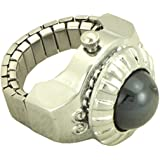 Finger Ring Watch Cover Dial for Women silver tone and black stone - 9