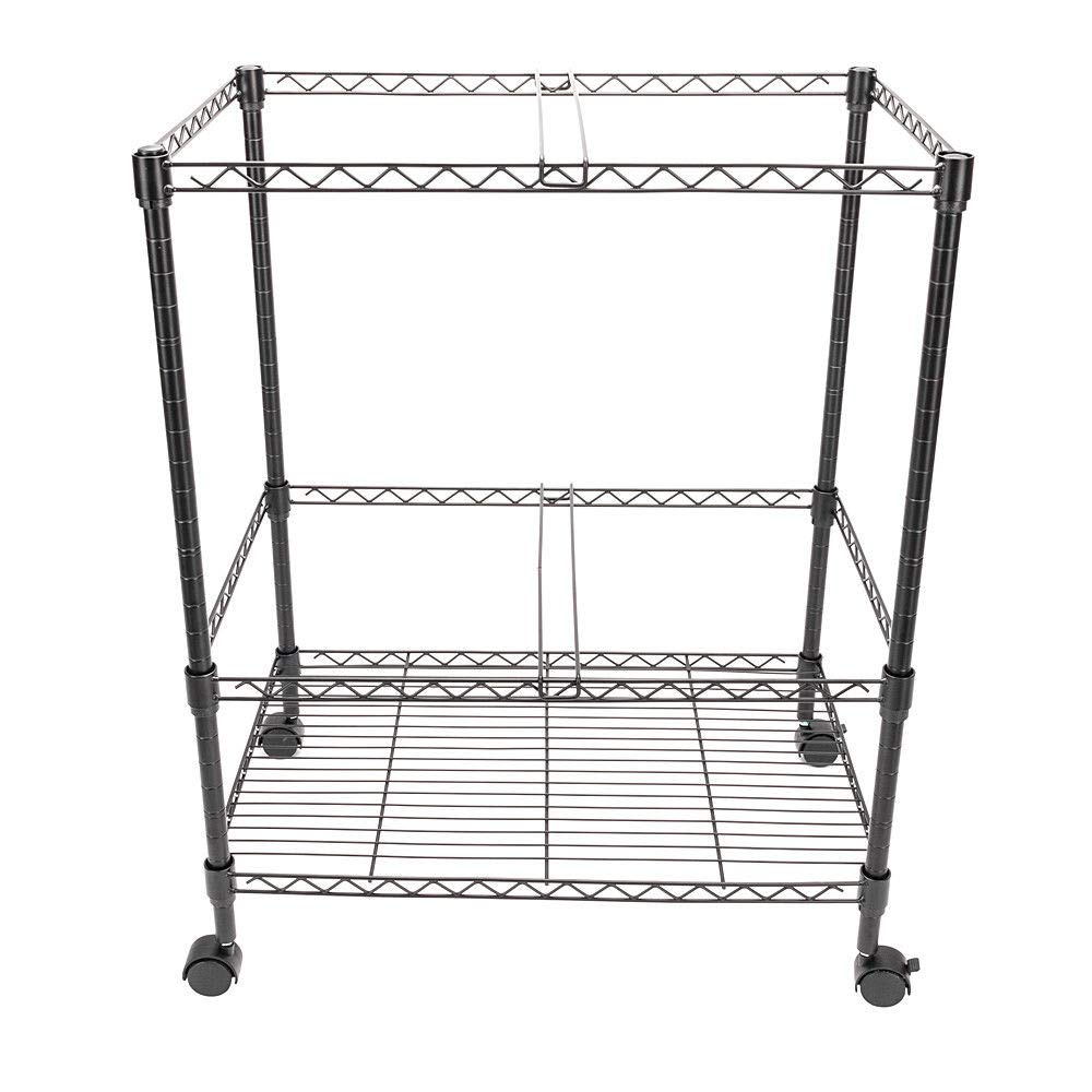 GHP 23.6''x15.7''x27.6'' 2-Tier Black Carbon Steel Rolling Office Mobile File Cart