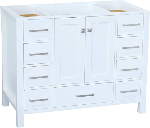 ARIEL 42″ inch White Bathroom Vanity Base Cabinet