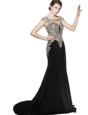 bb68c260830 Clearbridal Women s Mermaid Evening Dress Appliques Formal Prom Gown Black
